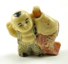Vintage Japanese Happy Wealth Lucky Baby Boy Fishing Fish Resin NETSUKE 1.75""