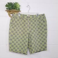 Talbots Green Black Geometric Print Stretch Bermuda Shorts Size 14W Plus