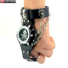 Luxury Sports Skull Quartz Stainless Leather Wrist Watch Chain Gothic Steampunk