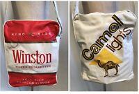 """Vintage Winston Camel Lights Cigarettes Vinyl Shoulder Tote Bag 9.5 x13 x 4.5"""""""