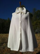 New listing Vtg 70s Montgomery Ward Women's Button Up Cape Sweater Poncho White Acrylic