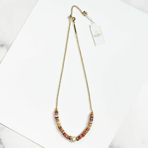 Kendra Scott Lila Beaded Strand Necklace in Pastel Shells and Vintage Gold