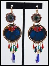 Boucles d oreilles BIJOUX LOL plume bleu rouge cuir perle chic glamour LOLILOTA