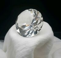"""Diamond Shaped Art Glass Paperweight Rosenthal Signed Crystal Clear 3.25""""x2.25"""""""
