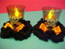 HALLOWEEN Homemade Décoration Skull Candle Lights in Plastic Shot Glasses