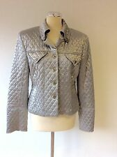 LORI ANN MONTREAL SILVER QUILTED JACKET SIZE 14