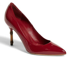 c02ee49f427 Gucci Kristen Bamboo Heel Raspberry Patent Leather Pump Heel EU 38 us 8 Shoe
