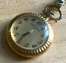 VTG Caravelle Bulova Lady Gold Tone Hand-Wind Necklace Pendant Pocket Watch Hour
