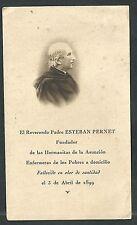 Estampa antigua del Fundador Padre Esteban andachtsbild santino holy card