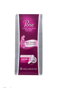 Poise Ultra Thin Pads No-Slip Wings, Active Collection Maximum Absorbency 12 ct
