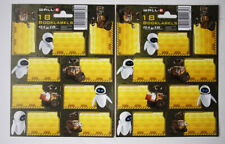 2X RARE WALL E & EVE BOOK LABEL STICKER SHEETS 18 STICKERS DISNEY PIXAR NEW !