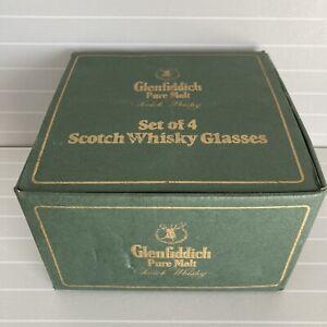 VINTAGE GLENFIDDICH PURE MALT BOXED SET OF 4 SCOTCH WHISKY GLASSES
