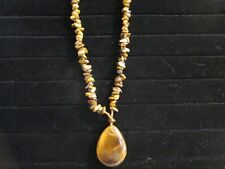 Golden Tiger Eye Bead Necklace & Large Tiger Eye Teardrop Pendant