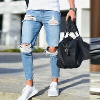 Fashion Men's Distressed Ripped Destroyed Wash Denim Zipper Ankle Skinny Jeans