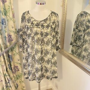 Phase Eight Size 16 floaty floral cream grey smock top tunic long flattering
