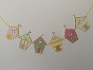 "Beach Hut Style Bunting 6 individual card stock Huts Attached Ribbon 60"" Pastel"