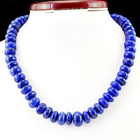 757.50 CTS NATURAL UNTREATED ROUND SHAPED BLUE LAPIS LAZULI BEADS NECKLACE (RS)