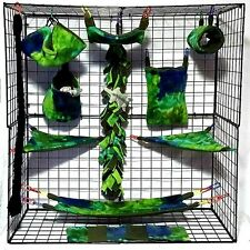 Deep Blue Green Tie Dye  *15 PC Sugar Glider Cage set * Rat * double layer Flc
