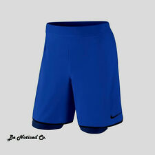 Nike NikeCourt Gladiator 2-In-1 Men's Tennis Shorts L Blue Gym Training New