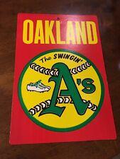 """VINTAGE 1970s MLB FLEER BIG Oakland A's  8"""" X 11""""  CARDBOARD SIGN"""