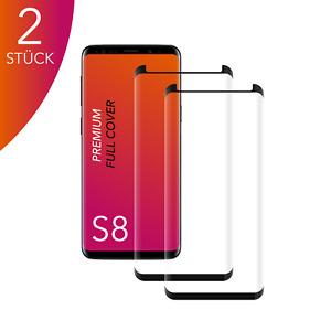 2X für Samsung Galaxy S8 Panzerfolie CASE Friendly Hartglas 9H 3D Curved