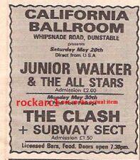 CLASH SUBWAY SECT UK TIMELINE Advert - California Ballroom 30-May-1977 4x3 inch