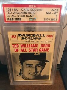 1961 NU-CARD SCOOPS #452 TED WILLIAMS HERO AT ALL STAR GAME  PSA 8 (25512862)