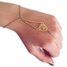 Girls Slave Chain Hand Finger Ring Link Punk Leopard Hollow Bracelet Ring