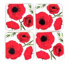 4 X HOME IS WHERE LOVE réside Vintage Fleur Cork Tasse Coaster NAPPERONS Rouge