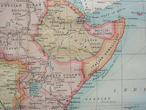 1921 LARGE MAP ~ AFRICA ABYSSINIA KENYA ~ VEGETATION ANNUAL RAINFALL POPULATION