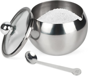Sugar Bowl Stainless Steel Sugar Pot With Clear Lid And Spoon Drum Shape New