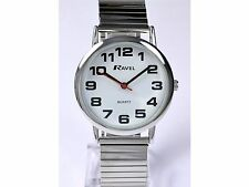 Ravel Gents Clear Bold Dial Silver Expandable Bracelet Strap Watch R0208.02.1