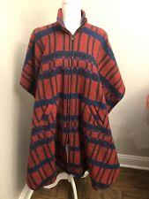 Vintage Bemidji Woolen Mills Wool Plaid Cloak Poncho Pullover Cape Red Plaid