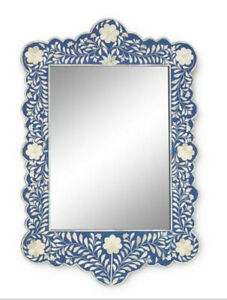 Bone Inlay Floral Design Mirror Frame Blue Color