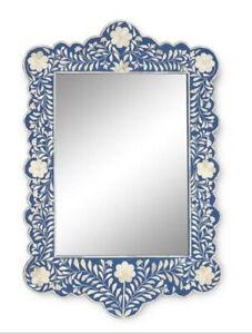 Bone Inlay Floral Design Mirror Frame Blue Color