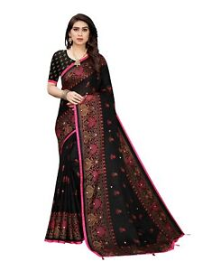 Black Bollywood Saree Party Wear Pakistani Wedding Designer Sari