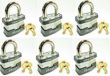 Lock Set by Master 1KA (6 Pack) KEYED ALIKE Identical Same Laminated Padlocks
