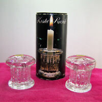 KOSTA RURIK Swedish Glass Candle Holders Hand Made in Sweden Mid Century NOS NIB