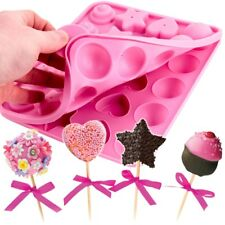 LARGE CAKE POP MOULD Silicone Round Ball Star Heart Cupcake Oven Safe Easy Clean