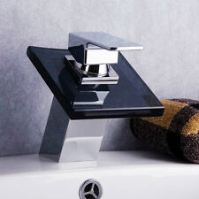 Bathroom Wash Basin Waterfall Faucet Brass Chrome Black Glass Spout Contemporary