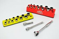 Snap-on 3/8 Dr Deep Shallow Socket Sets Ratchet Extensions Mac Tools Magnet Tray
