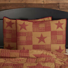 Vhc Primitive Pillow Sham Cover Standard King Quilted Cotton Star Patchwork Red