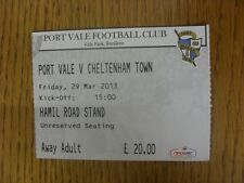 29/03/2013 Ticket: Port Vale v Cheltenham Town  . Thanks for viewing our item.