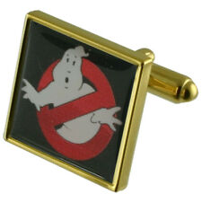 Ghostbusters Novelty Gold Square Cufflinks With Engraved Personalised Case