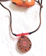 NWT NATIVE ART LOOK LEATHER PENDANT NECKLACE WITH BEADS SOUTHWEST RUSTIC