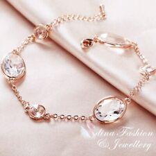 18K Rose Gold Filled Glass Crystal Oval Round Clear Shiny Chain Bracelet