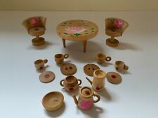 Vintage Hand Painted Wooden Dollhouse Furniture Table, Chairs & 12 Piece Dishes