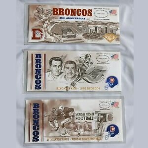 NFL Denver Broncos Collectible Stamped Limited Edition Envelopes Cache Mint Set