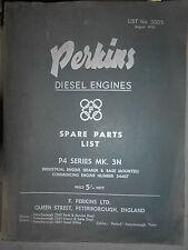 PERKINS moteur P4 + courrier adaptation renault 2T5 : spare parts list 1956