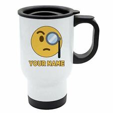 Personalised Face Emoji White Travel Mug - Rich 1 - Monicle - Add Your Name - Re